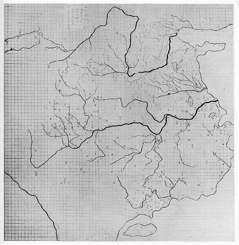 """""""Mapa de los caminos de Yu"""", tallado en piedra en 1137 d.C. Dimensiones aproximadas: 80 cm x 80 cm. Actualmente en el Museo Pei Lin de Xi'an. Imagen tomada de Needham, fig. 226."""