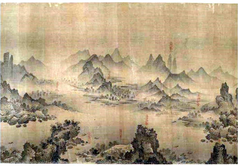"""Sección del Changjiang wan li tu (""""Diez mil li a lo largo del río Yantsé""""). Imagen tomada del sitio web de la Freer Gallery of Art, de la Smithsonian Institution (enlace)."""