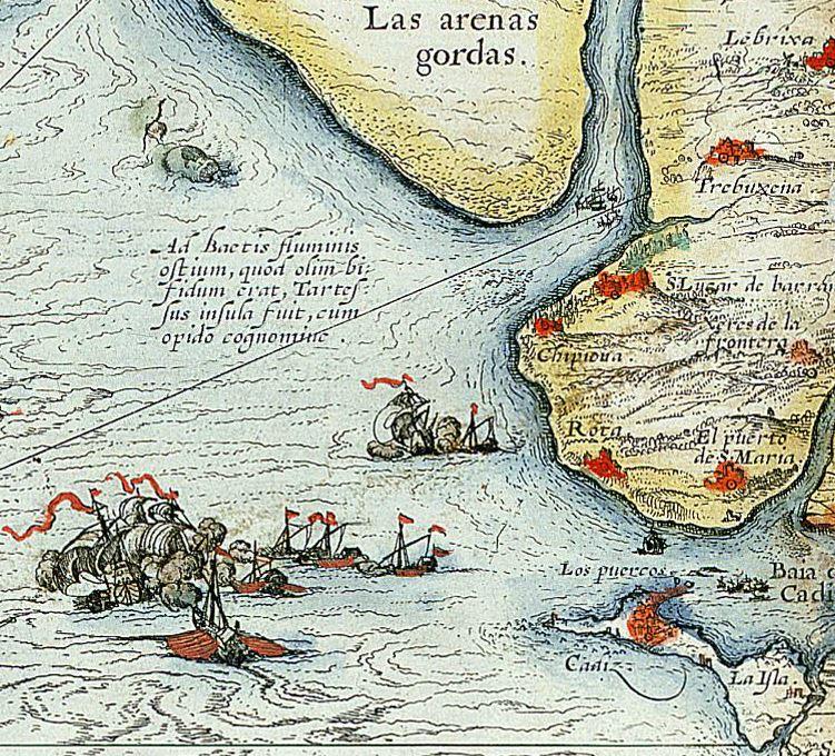 Hispalensis conventus Chaves-Ortelius. Detalle desembocadura Guadalquivir.