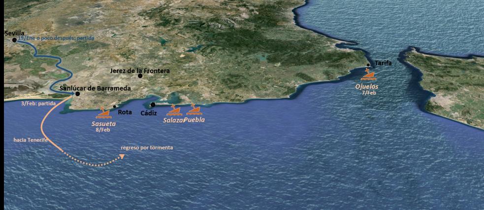 Itinerario de las cuatro carabelas de Vespucci, enero-febrero de 1496.