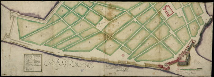 Plano de Cartagena de Indias, fechado en 1617, conservado en la BNE.
