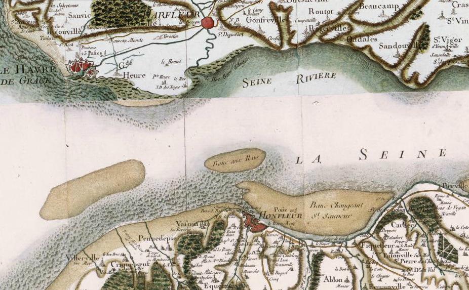 Desembocadura del río Sena. El puerto de Le Havre, fundado en el siglo XVI, estaba desbancando al viejo puerto de Honfleur, situado en la orilla opuesta.