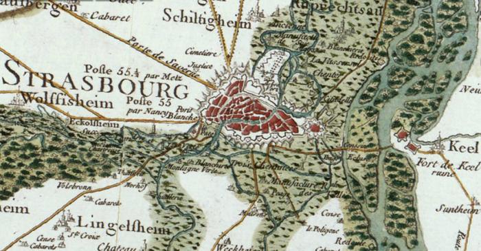 Estrasburgo, anexionada por Luis XIV en 1681.