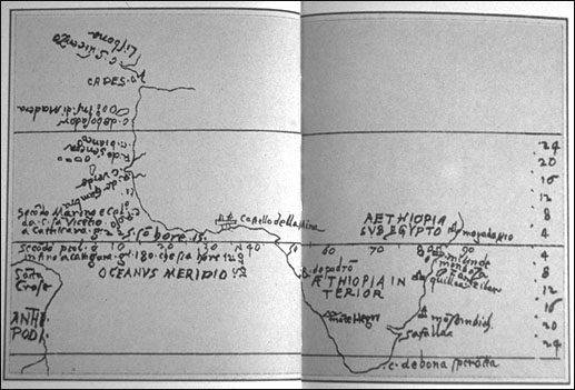 "Zorzi's sketch map of Africa and ""Santa Croce"" (nowadays Brazil), as can be seen in www.henry-davis.com"