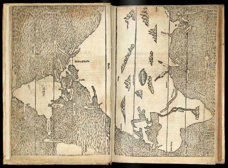 Mapamundi de López de Gómara tal y como se pressenta en su libro Historia general de las Indias.