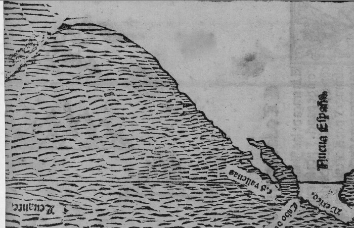 La costa oeste de Norteamérica en el mapa de López de Gómara, orientado con el norte arriba. Las Aleutianas serían el arco que se aprecia en la esquina superior izquierda.