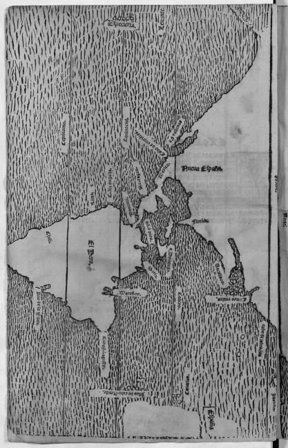Mapa de las Indias en la Historia general de las Indias de F. López de Gómara, 1553.