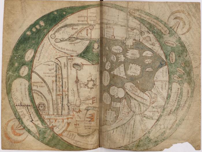 Mapamundi contenido en el manuscrito Vat.lat.6018. Imagen reconstruida a partir de las páginas digitalizadas en Digita Vaticana.