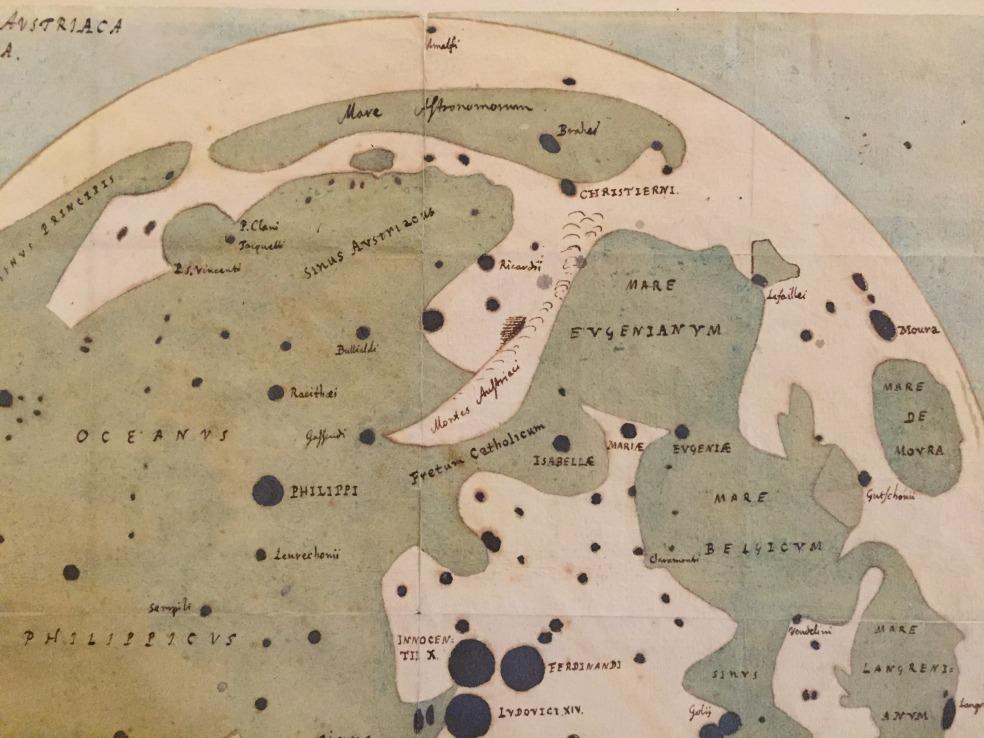 Detalle del mapa manuscrito de la Luna de Michael van Langren.